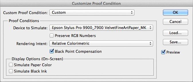 Adobe Photoshop - Customise Proof Conditions