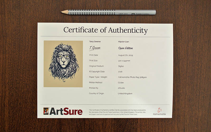 dStudio Certificate of Authenticity