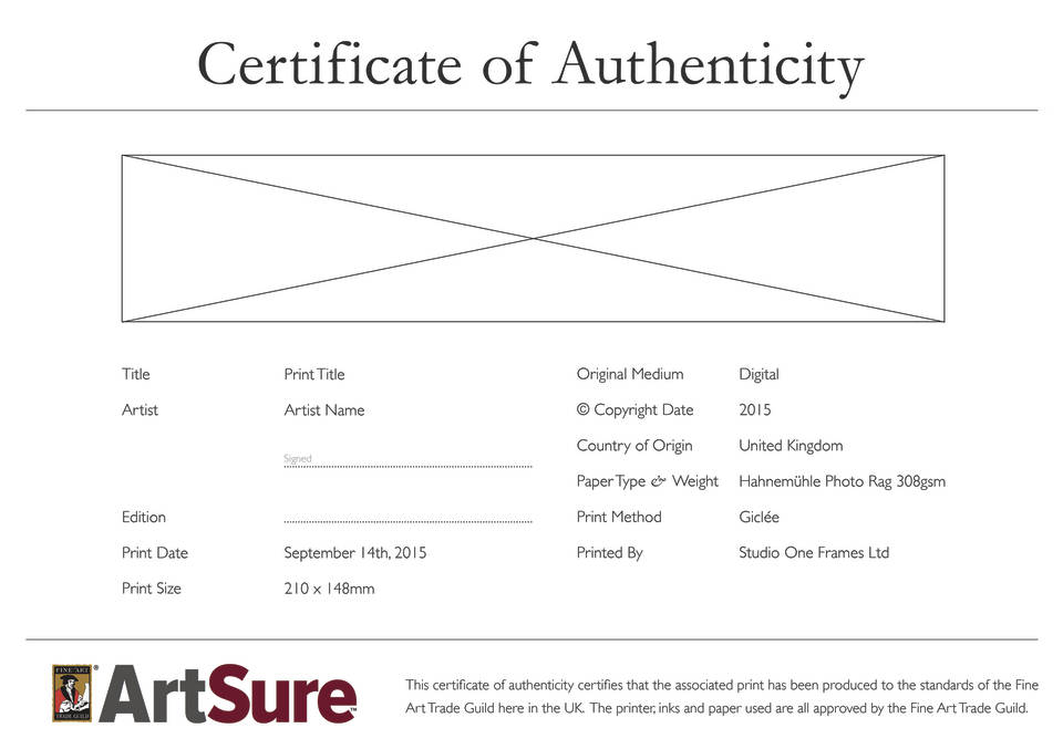 Certificates of authenticity for artists fine art trade guild artsure certificate of authenticity yelopaper Choice Image