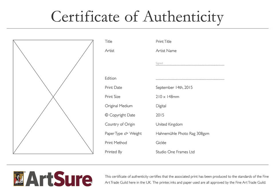 Certificates of authenticity for artists fine art trade guild artsure certificate of authenticity yelopaper Images