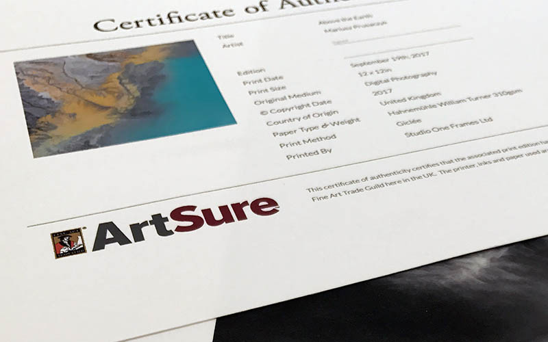 Fine Art Trade Guild Approved, Certificates of Authenticity, with ArtSure