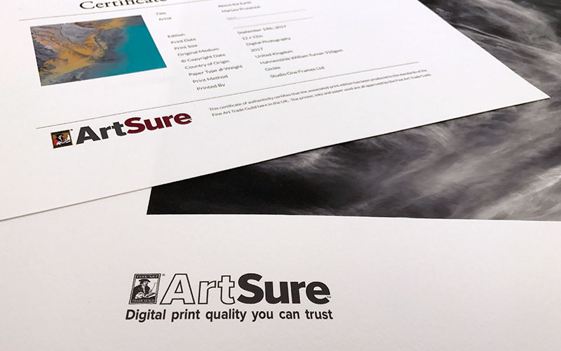 Studio One Frames are a Fine Art Trade Guild member for print and framing services. ArtSure registered